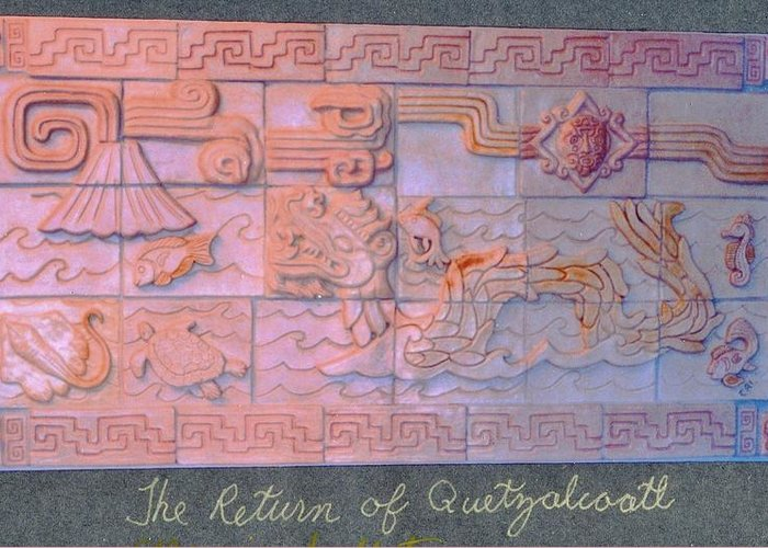 Ceramic Greeting Card featuring the ceramic art The Return Of Quetzalcoatl by Charles Lucas