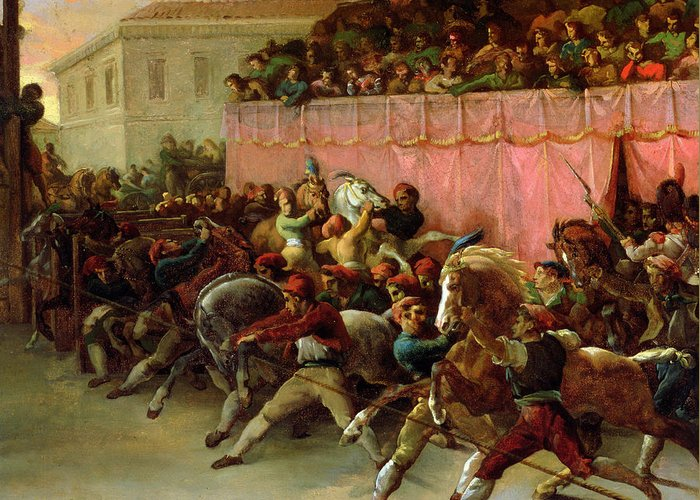 The Riderless Racers At Rome Greeting Card featuring the painting The Riderless Racers At Rome by Theodore Gericault