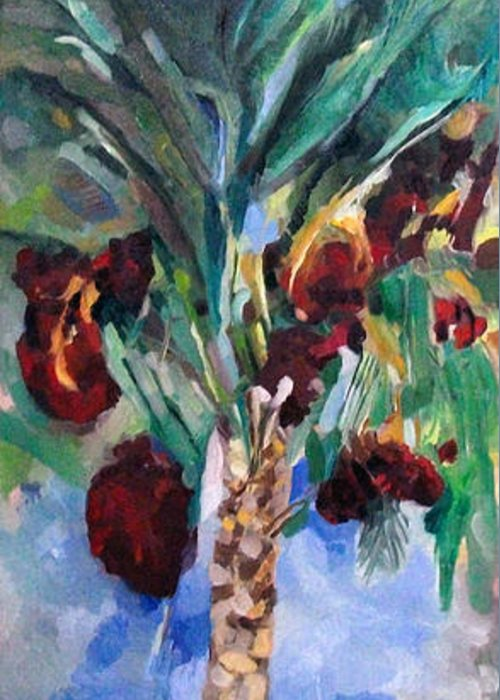Greeting Card featuring the painting The Righteous Will Flourish Like The Date Palm Tree by David Baruch Wolk