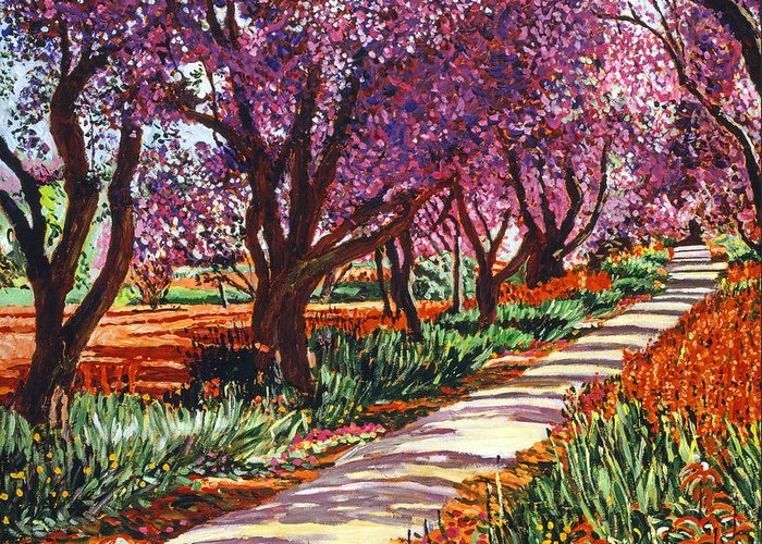 Landscape Greeting Card featuring the painting The Road To Giverny by David Lloyd Glover