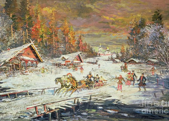 Sledge Greeting Card featuring the painting The Russian Winter by Konstantin Korovin