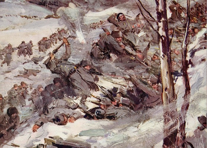 World Greeting Card featuring the painting The Russians Fighting Their Way Over The Carpathians by Cyrus Cuneo