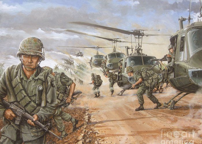Vietnam War Art Greeting Card featuring the painting The Screaming Eagles In Vietnam by Bob George