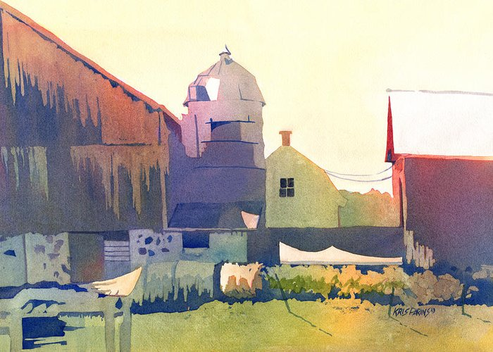 Kris Parins Greeting Card featuring the painting The Side Of A Barn by Kris Parins