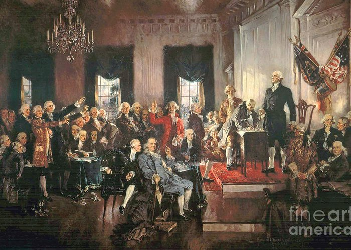 Congress Greeting Card featuring the painting The Signing Of The Constitution Of The United States In 1787 by Howard Chandler Christy