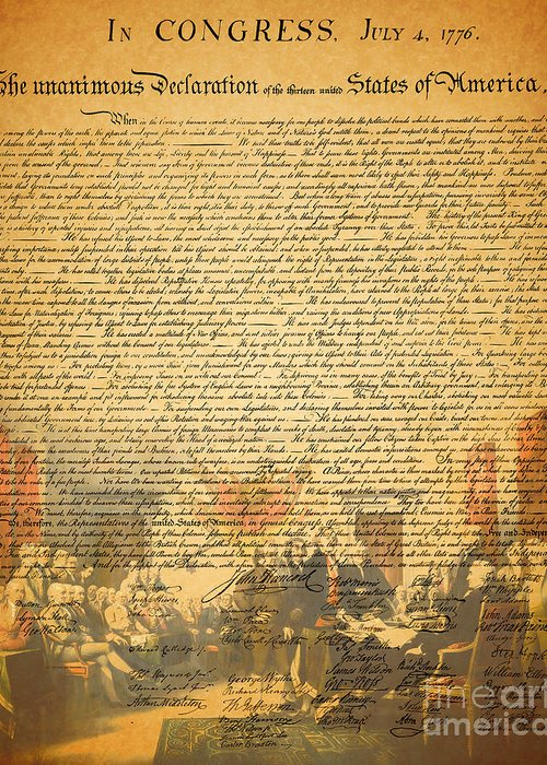 Wingsdomain Greeting Card featuring the photograph The Signing Of The United States Declaration Of Independence by Wingsdomain Art and Photography