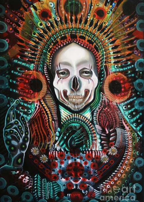 Skull Greeting Card featuring the painting The Singularity by Michael Kulick