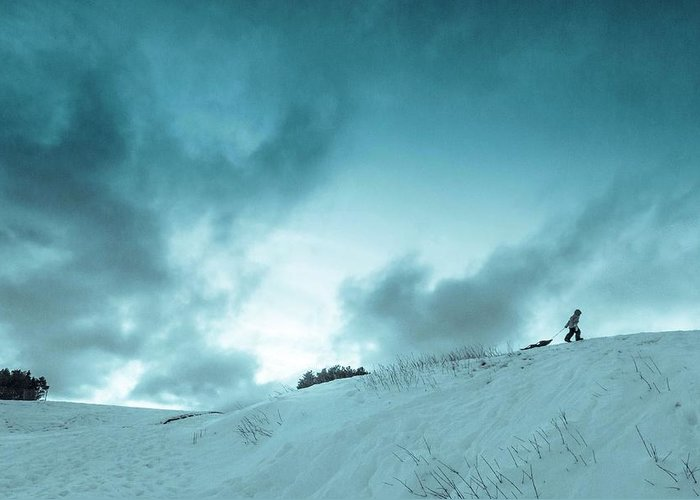 Sledding sledding Hill winter Landscape Snow Fun Nature greeting Card mary Amerman Minnesota Duluth child Sledding Greeting Card featuring the photograph The Sledding Hill by Mary Amerman
