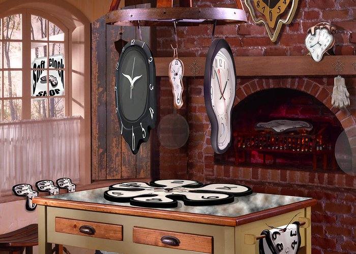 Surrealism Greeting Card featuring the photograph The Soft Clock Shop 3 by Mike McGlothlen