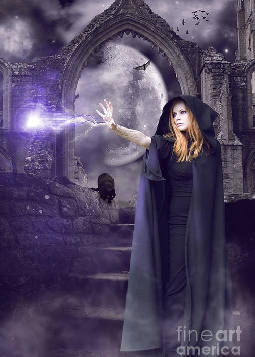 Halloween Greeting Card featuring the digital art The Spell Is Cast by Linda Lees