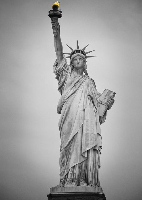 Statue Of Liberty Greeting Card featuring the photograph The Spirit Of New York by Priyank Vora
