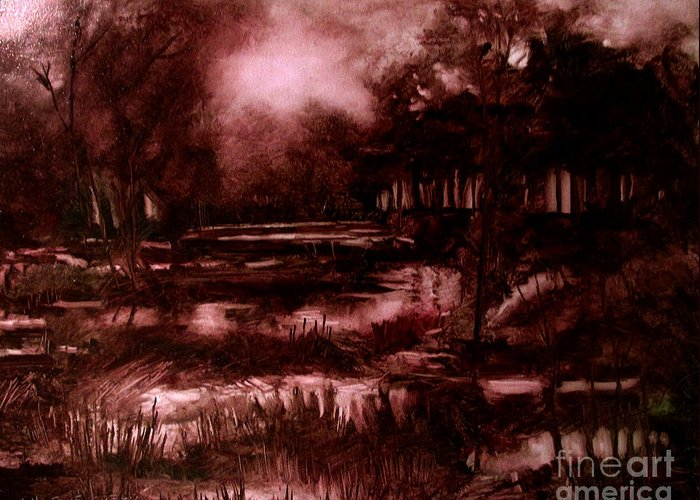 Landscape Greeting Card featuring the painting The Spring Eel Flooding Or Red And Green Don't Make Brown by Charlie Spear