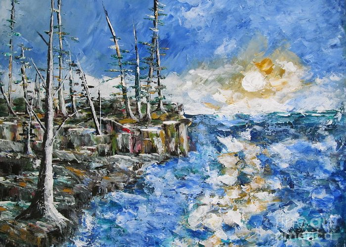 Pallette Knife Painting Greeting Card featuring the painting The Storm by Beverly Livingstone