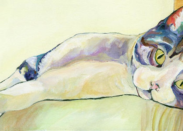 Pat Saunders-white Canvas Prints Greeting Card featuring the painting The Sunbather by Pat Saunders-White