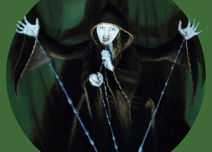 Shelley Irish Greeting Card featuring the painting The Taker by Shelley Irish