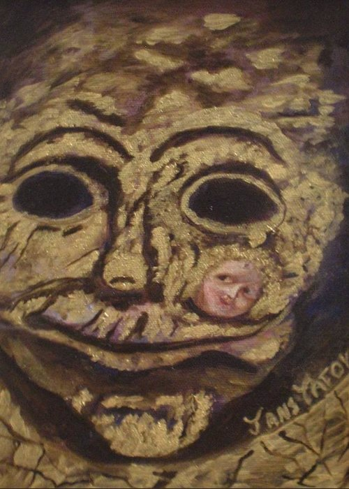 Mask Greeting Card featuring the painting The Tattoed Mask by Janis Tafoya