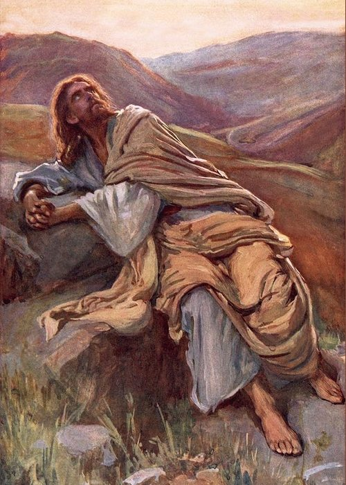 Son Of God Greeting Card featuring the painting The Temptation Of Christ by Harold Copping