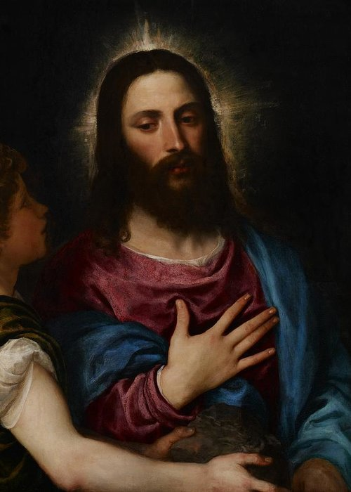 Resolve Greeting Card featuring the painting The Temptation Of Christ by Titian
