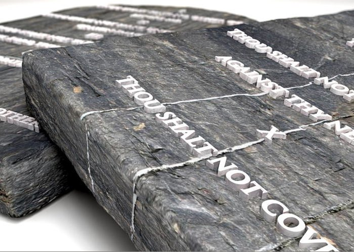 Ten Commandments Greeting Card featuring the digital art The Ten Commandments by Allan Swart