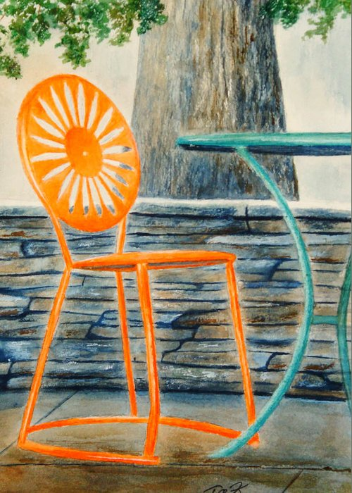 University Of Wisconsin Greeting Card featuring the painting The Terrace Chair by Thomas Kuchenbecker