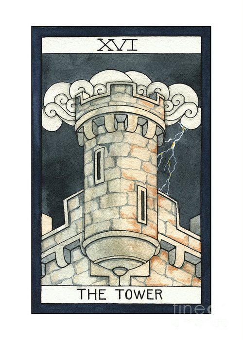 Tower Greeting Card featuring the painting The Tower by Nora Blansett
