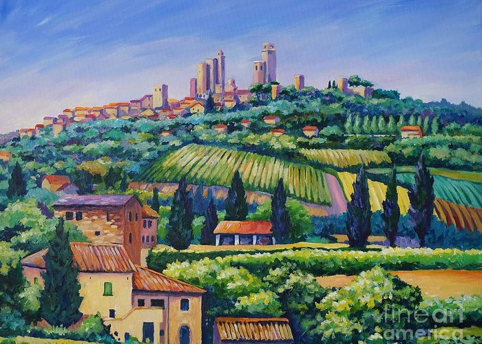 Italy Greeting Card featuring the painting The Towers Of San Gimignano by John Clark