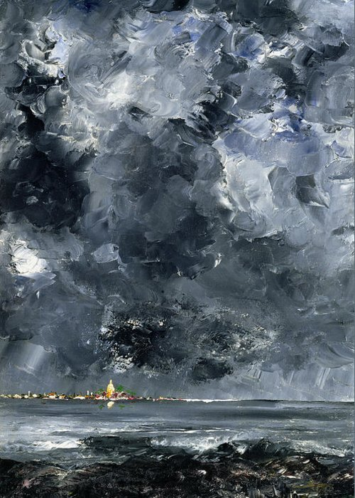 Expressionist; Storm; Sea; Harbour; Port; Stormy; Sky; Cloud Study; Symbolist; Stormy; Skyscape; Dramatic; Nature; Elements; Elemental; Blue; Night; Nocturne; Dark; Glowing; Isolated; Humanity; Culture Greeting Card featuring the painting The Town by August Johan Strindberg