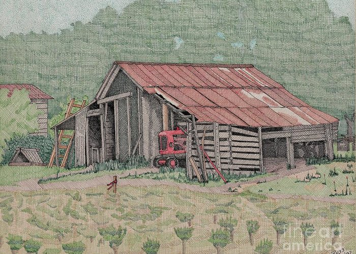 Tracker Greeting Card featuring the drawing The Tractor Barn by Calvert Koerber