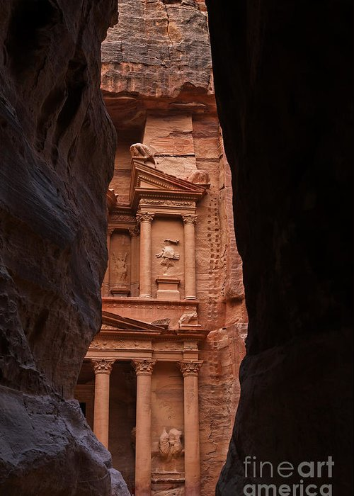 Petra Greeting Card featuring the photograph The Treasury Seen From The Siq Petra Jordan by Robert Preston