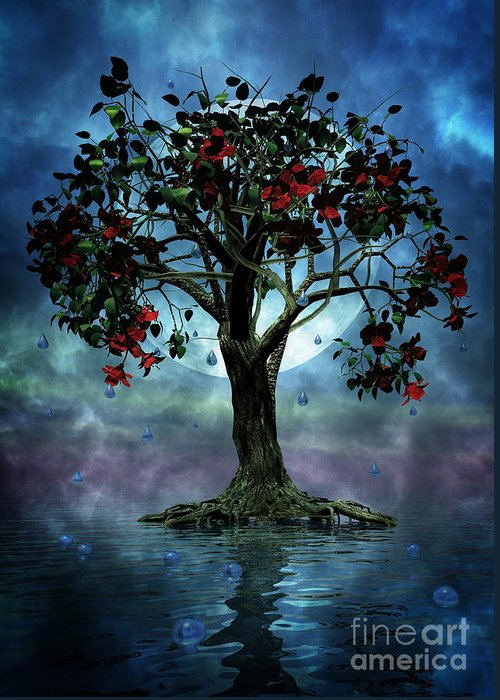 Fantasy Tree Greeting Card featuring the painting The Tree That Wept A Lake Of Tears by John Edwards
