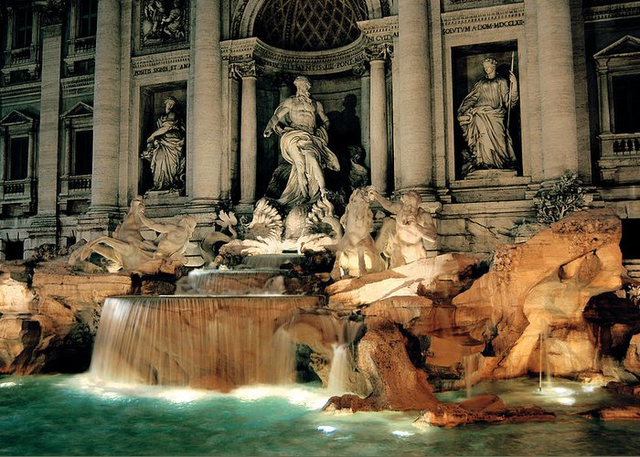 Trevi Fountain Greeting Card featuring the photograph The Trevi Fountain by Warren Home Decor