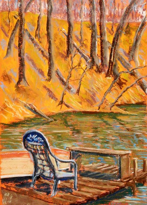 Chair Greeting Card featuring the pastel The Trysting Place by Tim Swagerle
