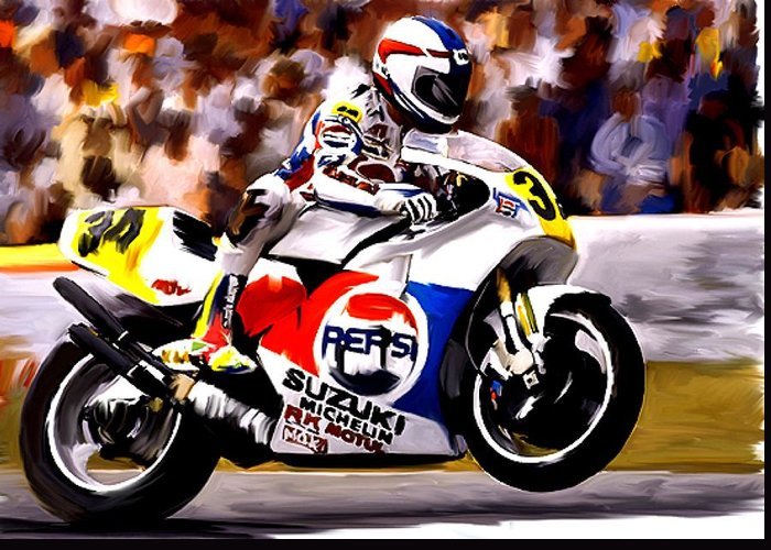 Kevin Schwantz Greeting Card featuring the painting The Unleashing  Kevin Schwantz by Iconic Images Art Gallery David Pucciarelli