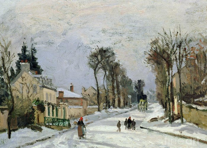 Winter Greeting Card featuring the painting The Versailles Road At Louveciennes by Camille Pissarro