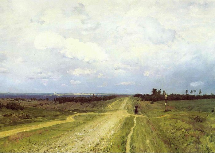 Russian; Landscape; Bleak; Desolate; Deserted; Track; Path; Flat; Exile; Rural; Remote; Countryside; Volga Motorway; Siberia Greeting Card featuring the painting The Vladimirka Road by Isaak Ilyich Levitan