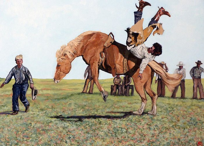 Bull Greeting Card featuring the painting The Waiting Line by Tom Roderick