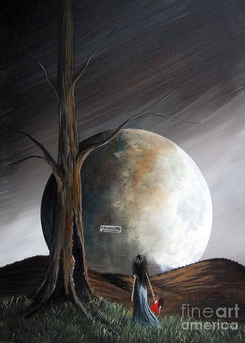 Surreal Greeting Card featuring the painting The Warning By Shawna Erback by Shawna Erback