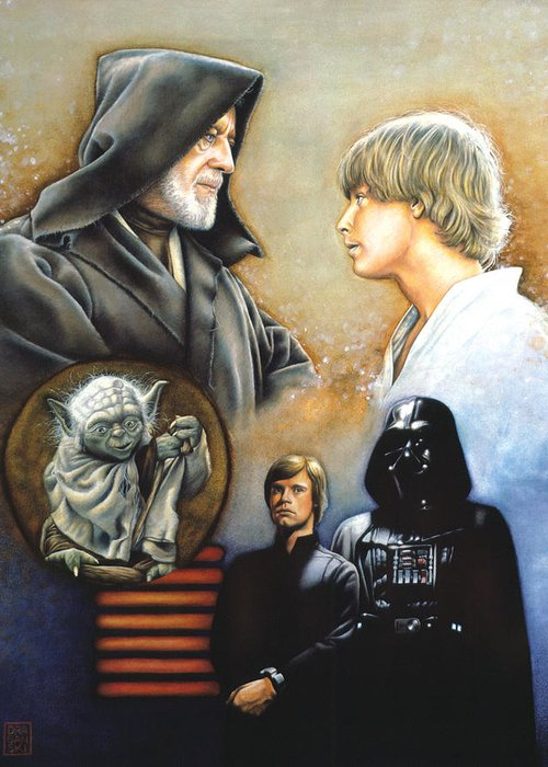Star Wars Greeting Card featuring the drawing The Way Of The Force by Edward Draganski