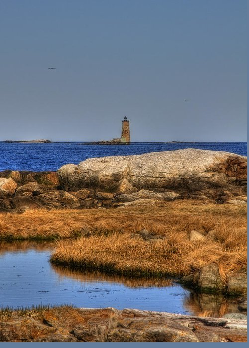 New England Greeting Card featuring the photograph The Whaleback Lighthouse by Joann Vitali