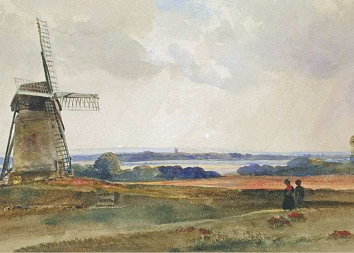 Peter De Wint Greeting Card featuring the painting The Windmill by Peter de Wint