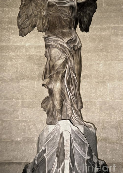 Winged Victory Greeting Card featuring the painting The Winged Victory Of Samothrace Marble Sculpture Of The Greek Goddess Nike Victory by Gregory Dyer