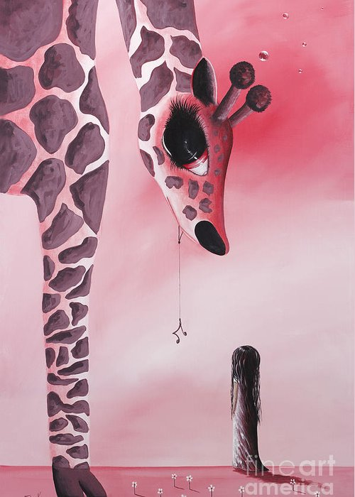 Giraffe Greeting Card featuring the painting The Wish That Came True By Shawna Erback by Shawna Erback