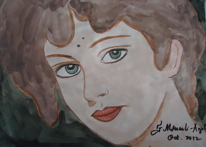 Face Greeting Card featuring the painting The Woman From The Market... by Fladelita Messerli-