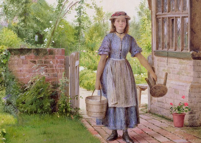 Pail; Geranium; Stool; Edwardian Greeting Card featuring the painting The Young Milkmaid by George Goodwin Kilburne