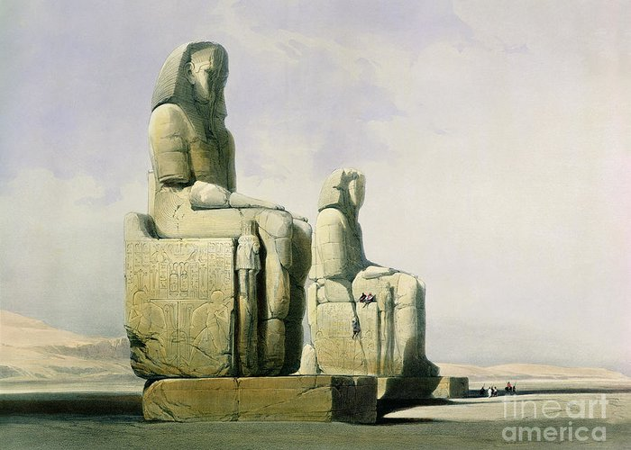 Statues Greeting Card featuring the painting Thebes by David Roberts