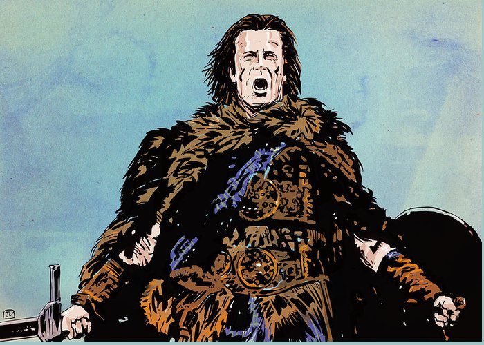 Highlander Greeting Card featuring the drawing There Can Be Only One by Giuseppe Cristiano