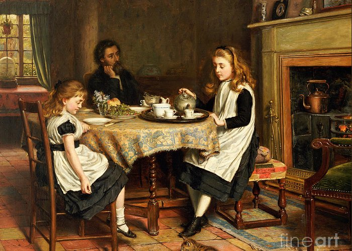 Interior; Victorian; Family; Father; Daughter; Daughters; Girls; Female; Children; Playing Mother; Tea; Pouring; Motherless; Widowed; Widower; Mourning; Seated; Table Greeting Card featuring the painting There Is No Fireside... by George Goodwin Kilburne