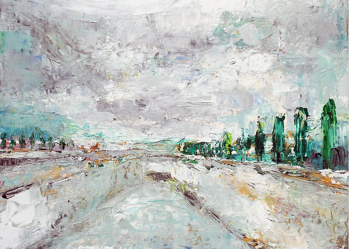 Landscape Greeting Card featuring the painting Thinking About Winter In Summer Time 1 by Becky Kim