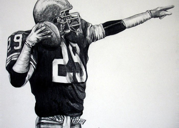 Football Player Greeting Card featuring the drawing This Ball's For You by Joe Lisowski