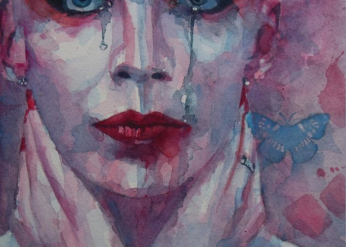 Annie Lennox Greeting Card featuring the painting This Is The Fear This Is The Dread These Are The Contents Of My Head by Paul Lovering